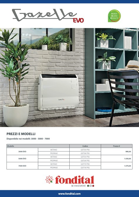 Fondital - Price list Gazelle Evo