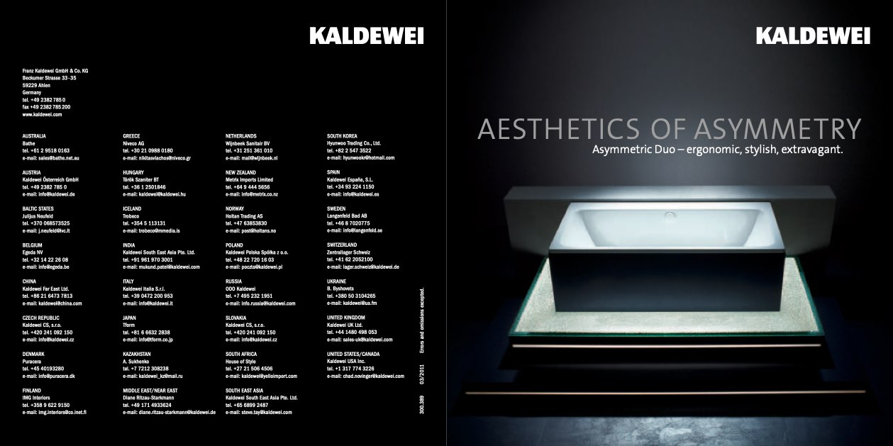 kaldewei aesthetics of asymmetry asymmetric duo. Black Bedroom Furniture Sets. Home Design Ideas