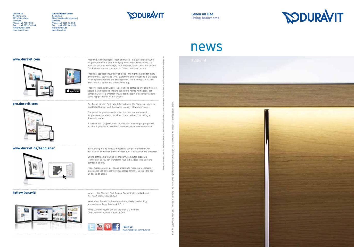 duravit news edition 6. Black Bedroom Furniture Sets. Home Design Ideas